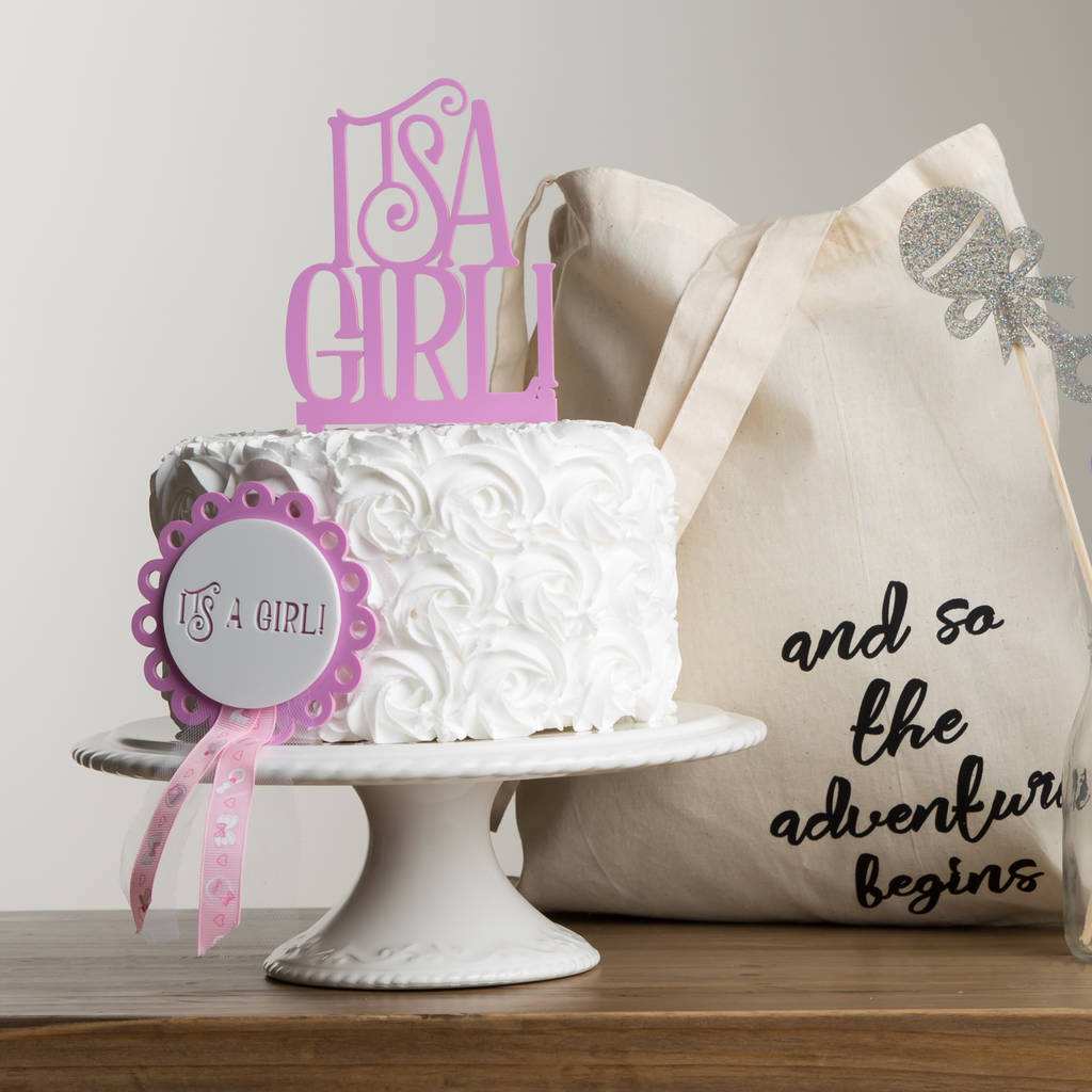 It's A Girl Baby Shower Cake Topper Gift Set