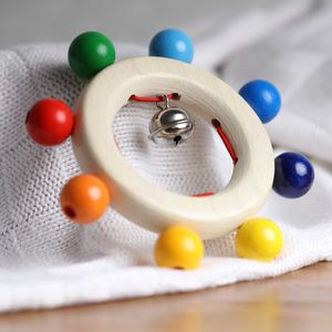 Wooden Baby Rattle Rainbow Beads And Bell - wooden toys