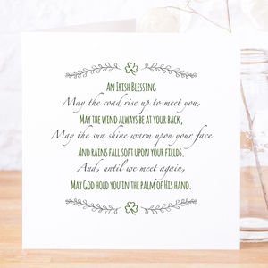'May The Road Rise Up' Contemporary Irish Blessing Card