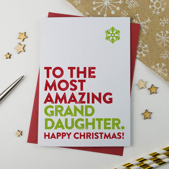 Most Amazing Granddaughter Christmas Card