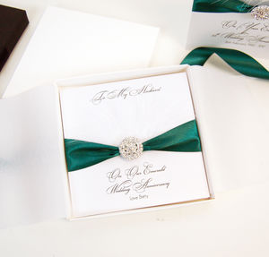 Personalised Emerald Wedding Anniversary Card Feather - anniversary cards