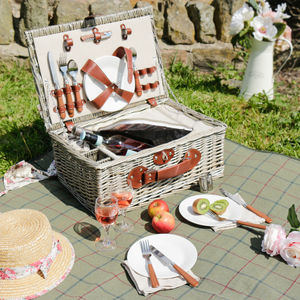 Personalised Four Person Wicker Picnic Hamper - storage & organisers