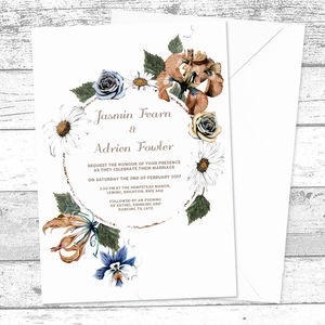 Personalised Rusted Floral Wedding Invitations - invitations