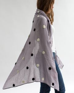 Grey Scarf With Wool Spots - womens
