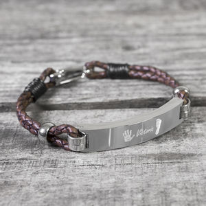 Daddy's Personalised Print Leather Bracelet