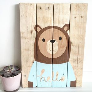'Oh Hello Bear' Reclaimed Wood - mixed media & collage