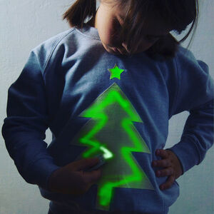 Xmas Tree Glow In The Dark Interactive Sweatshirt