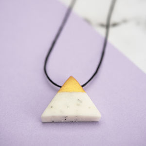 Gold Dipped 'Marble' White Triangle Necklace