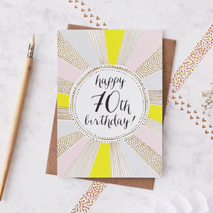 70th Birthday Foiled Greetings Card - special age birthday cards