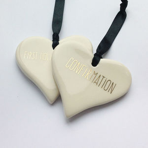 Religious Ceramic Hearts - decorative accessories