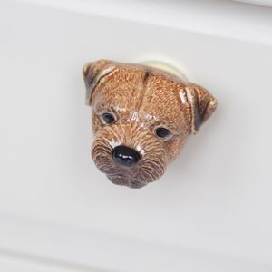 Porcelain Border Terrier Drawer Pull - home accessories