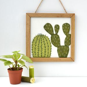 Embroidered Felt Cactus In Wooden Frame - mixed media & collage