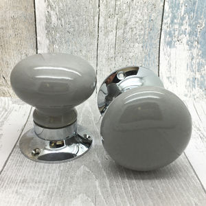 Grey Mortice Ceramic Doors Knobs Set For Entrance Doors - home accessories