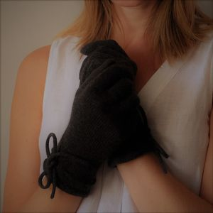 Cashmere Gloves With Bow Detail - gloves