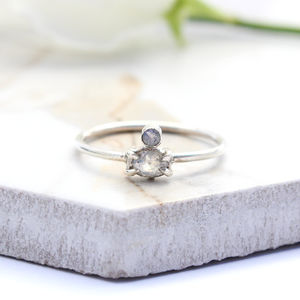 Althea, Sterling Silver Dainty Double Moonstone Ring - rings