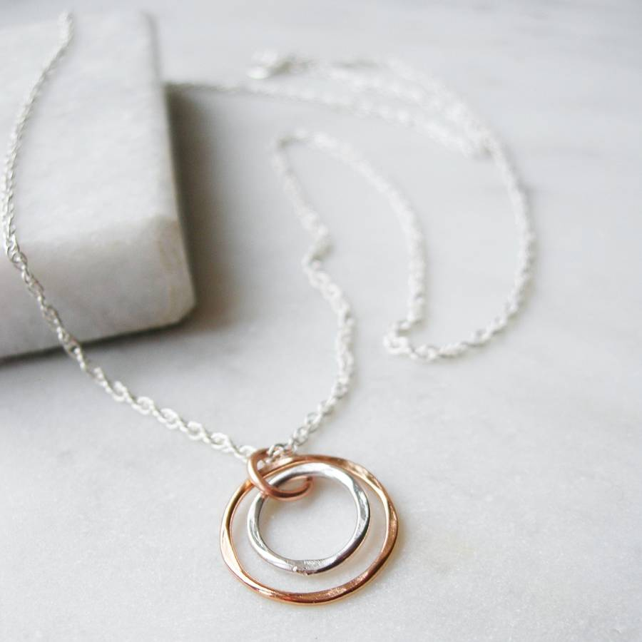 Hammered silver and rose gold circles necklace by hazey designs hammered silver and rose gold circles necklace aloadofball Images