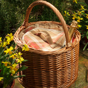 Personalised Amber Tartan Round Chiller Basket - picnic hampers & baskets