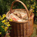 Personalised Amber Tartan Round Chiller Basket