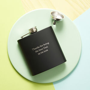 Personalised Black 6oz Hip Flask - personalised