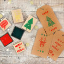 Christmas Rubber Stamp And Ink Decorating Set