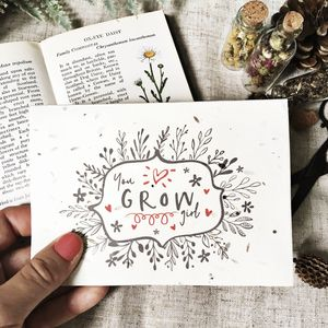 Plantable You Grow Girl Card