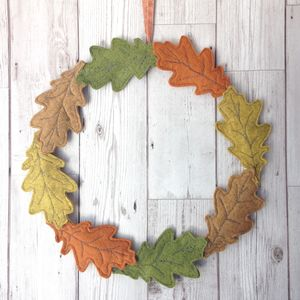 Embroidered Felt Autumn Leaf Wreath - flowers, plants & vases