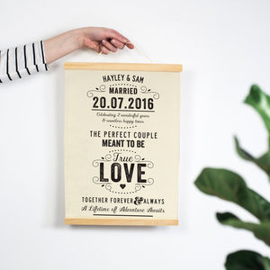 Personalised Cotton Anniversary Love Print