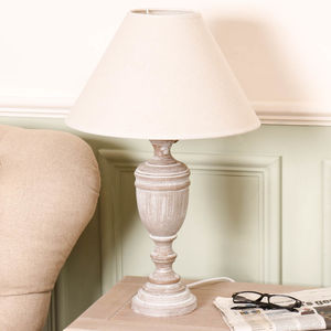 Wooden Whitewash Urn Table Lamp