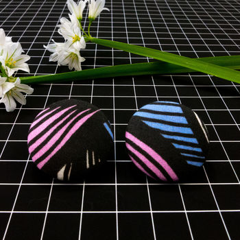 Cute As A Button 28mm Earrings 'Leaf Stripe'