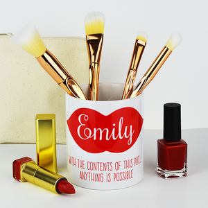 Personalised Lips Make Up Pot - kitchen accessories