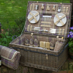 Lavender And Ivory Picnic Hamper For Six - boxes, trunks & crates