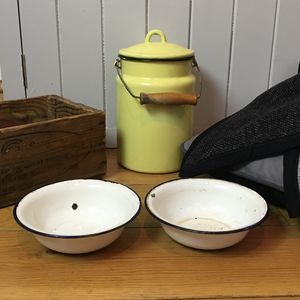 Two Vintage Enamel Cat Bowls - kitchen