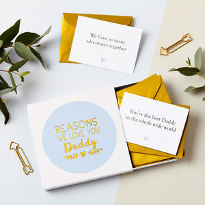 Personalised Foiled Reasons I Love Dad Notes - father's day cards