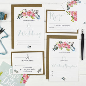 Floral Write Your Own Wedding Invitation Set - invitations