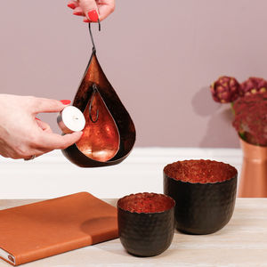 Copper And Charcoal Tealight Holder Collection - tableware