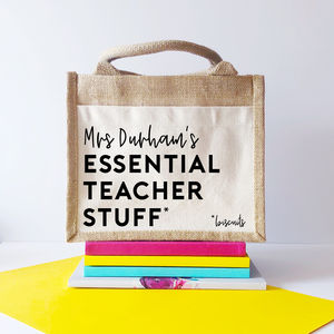 Personalised 'Teacher Essentials' Jute Tote Bag