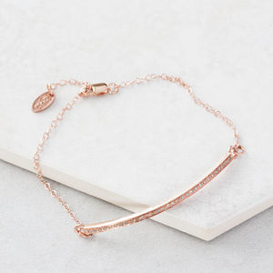 Pave Diamond Rose Gold Bar Bracelet