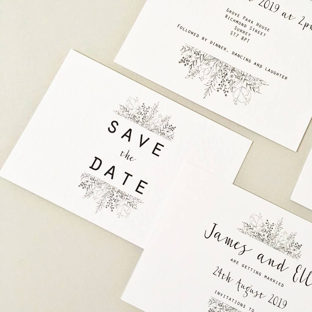 wildflower modern wedding invitation set by summer lane studio