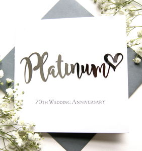 Platinum 70th Wedding Anniversary Card - anniversary cards