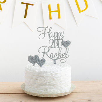 Personalised Birthday Cake Topper With Heart Set