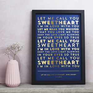 Metallic Song Lyrics Or Poem Print - gifts for him sale