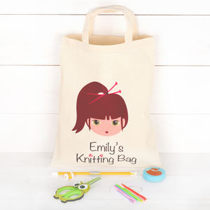 Girls Personalised Knitting Bag With Accessories