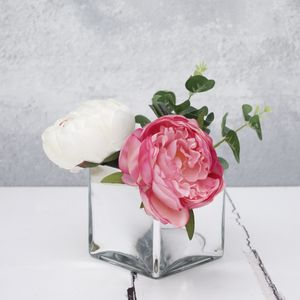Artificial Peony Bouquet In Mirrored Vase