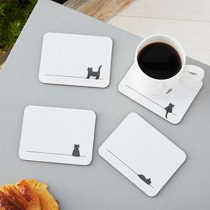 Cat Coasters, Set Of Four