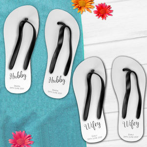 Personalised Wifey And Hubby Wedding Flip Flops Set - sandals