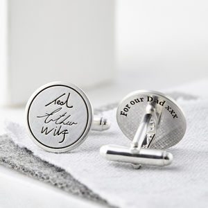 Personalised Silver Handwriting Signature Cufflinks - gifts from younger children