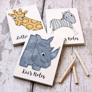 Personalised Safari Animal Embroidered Notepad - for little adventurers