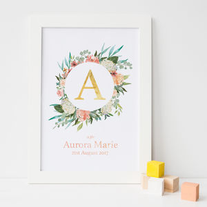 Personalised Floral Gold Foil Initial Nursery Print - baby & child sale