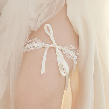 Brigitte Lace Tie Wedding Garter Choose Your Colour