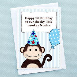 'Monkey' Personalised Boys Birthday Card - 1st birthday cards